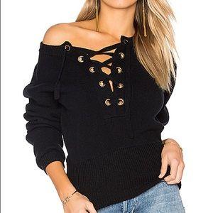 Sweaters - EUC Black lace up sweater